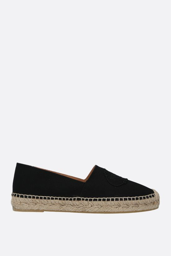 PRADA: logo-embroidered canvas espadrilles Color Black_1