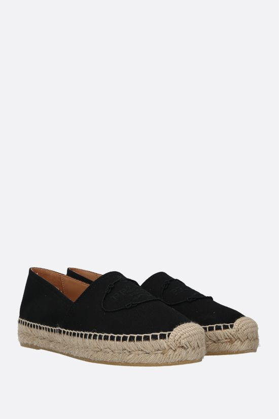 PRADA: logo-embroidered canvas espadrilles Color Black_2