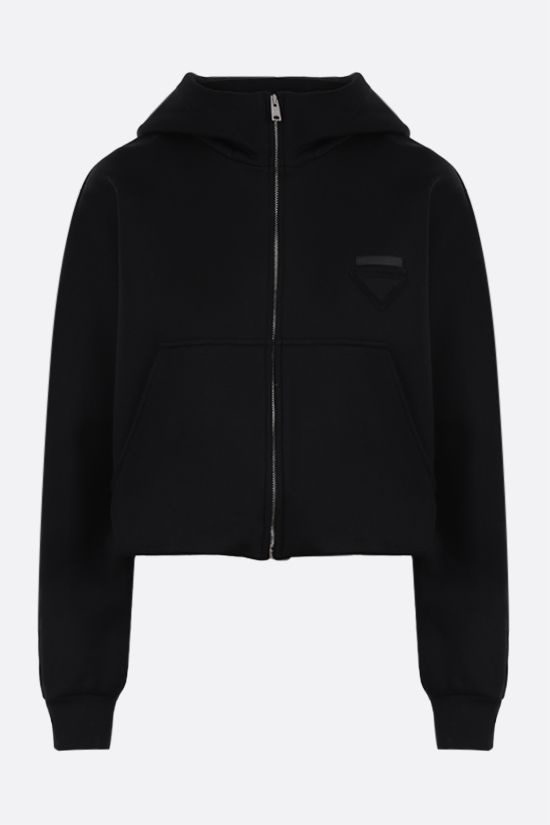 PRADA: technical cotton cropped hoodie Color Black_1