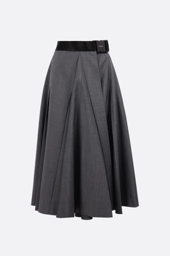 PRADA: mohair wool blend wrap skirt Color Grey_1