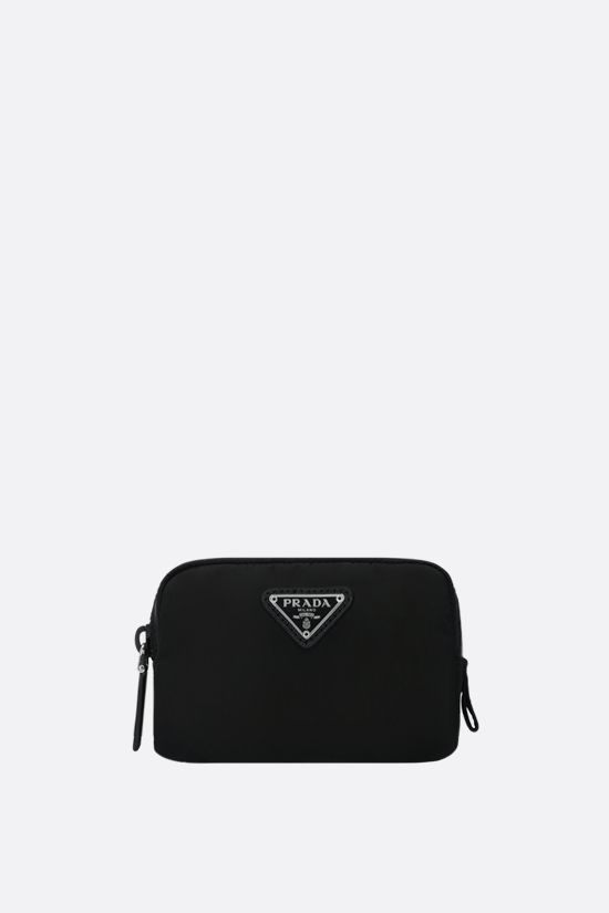 PRADA: logo-detailed nylon pouch Color Black_1