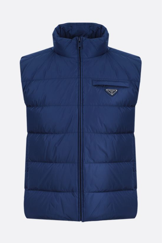PRADA: Re-Nylon sleeveless down jacket Color Blue_1
