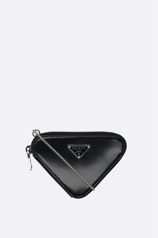 PRADA: brushed calf chain coin purse Color Black_1