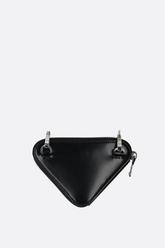PRADA: brushed calf chain coin purse Color Black_2
