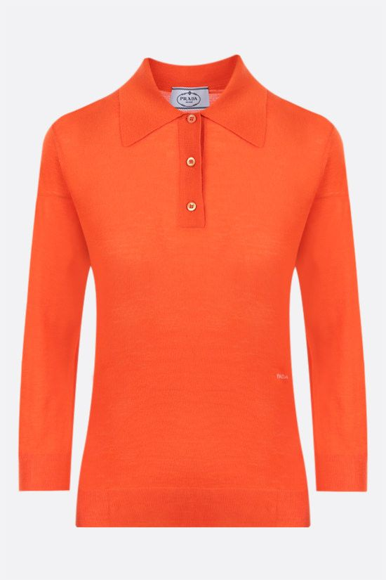 PRADA: logo intarsia combed wool polo-style pullover Color Orange_1