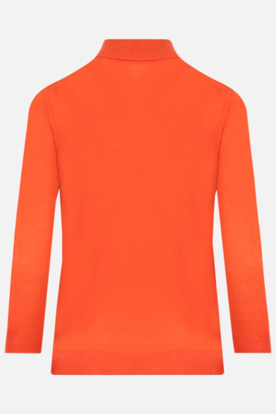 PRADA: logo intarsia combed wool polo-style pullover Color Orange_2