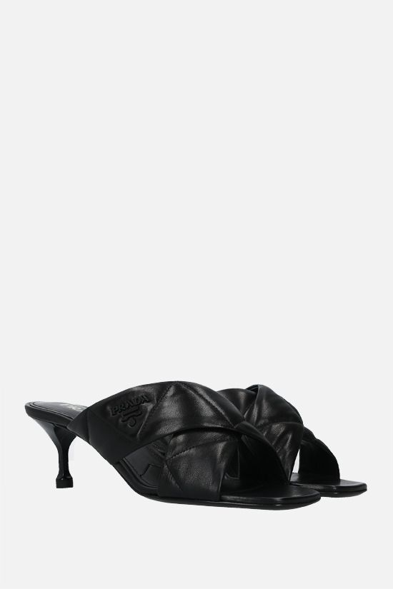PRADA: quilted nappa mule sandals Color Black_2