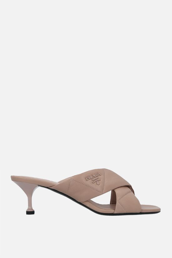 PRADA: quilted nappa mule sandals Color Neutral_1