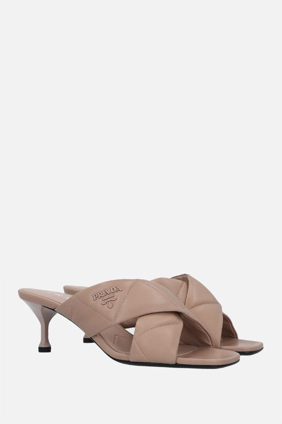 PRADA: quilted nappa mule sandals Color Neutral_2