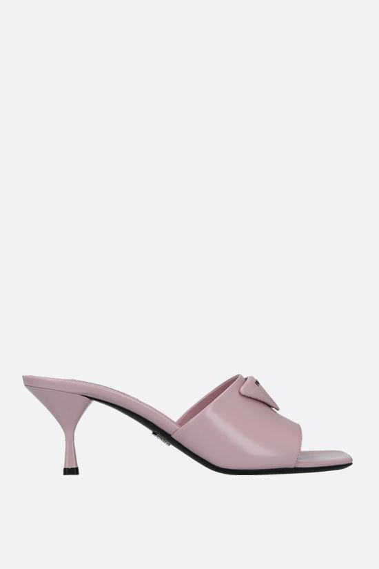 PRADA: brushed leather mule sandals Color Pink_1