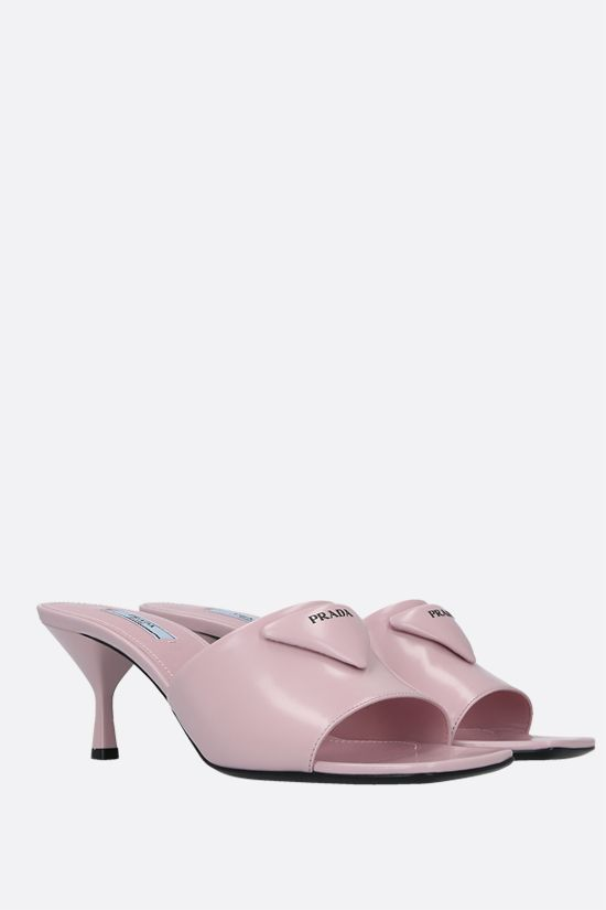 PRADA: brushed leather mule sandals Color Pink_2