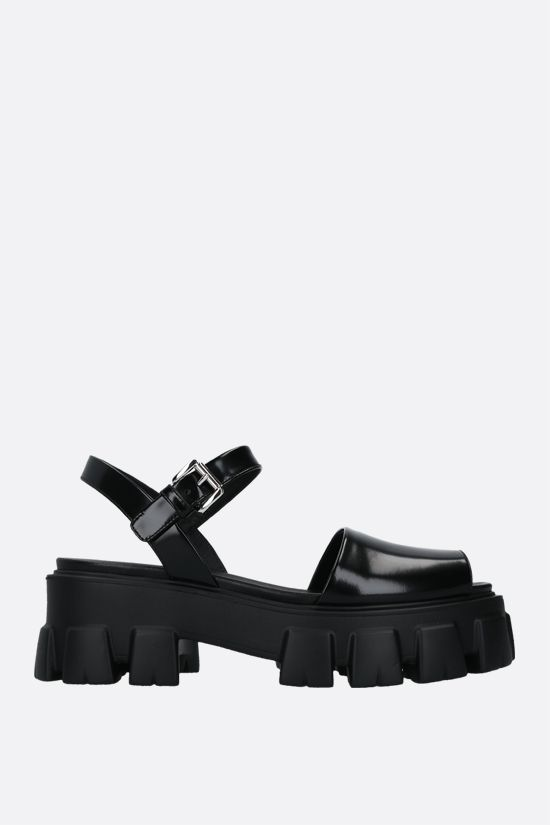 PRADA: brushed leather flatform sandals Color Black_1