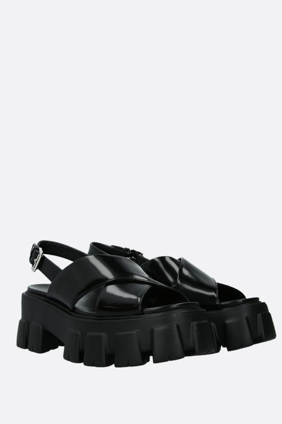 PRADA: brushed leather flatform sandals Color Black_2