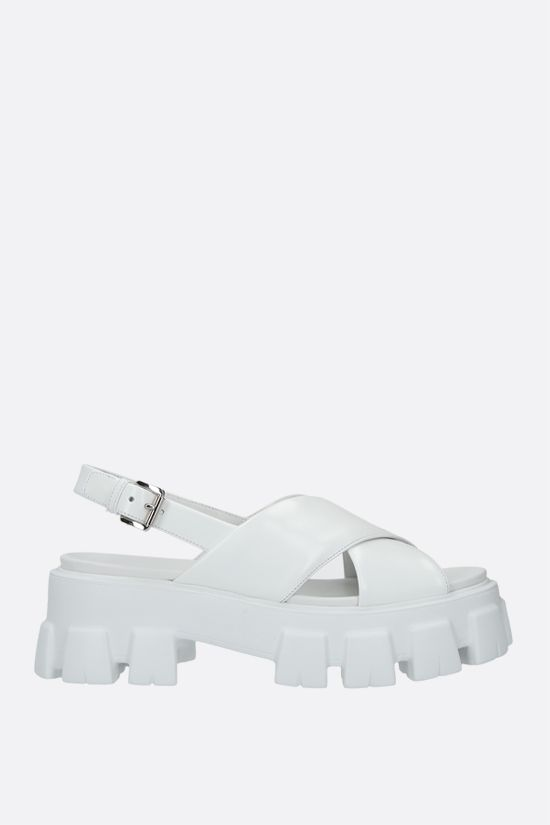 PRADA: brushed leather flatform sandals Color White_1