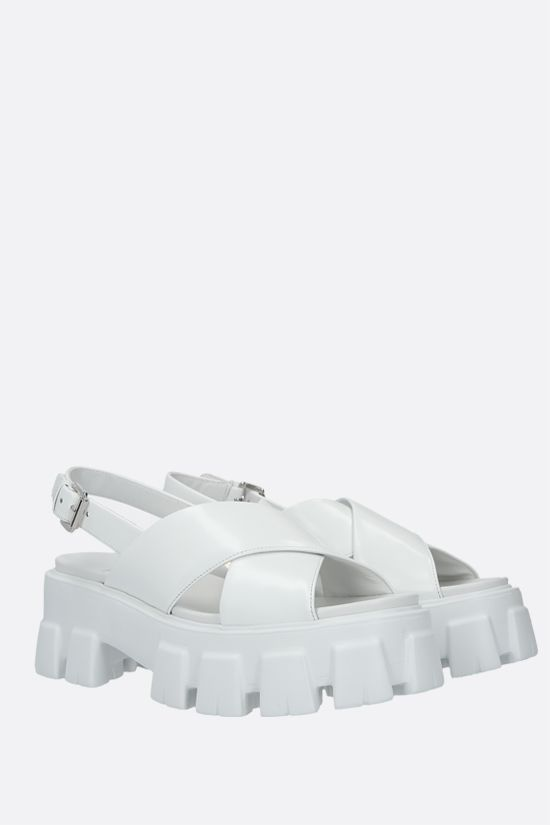 PRADA: brushed leather flatform sandals Color White_2