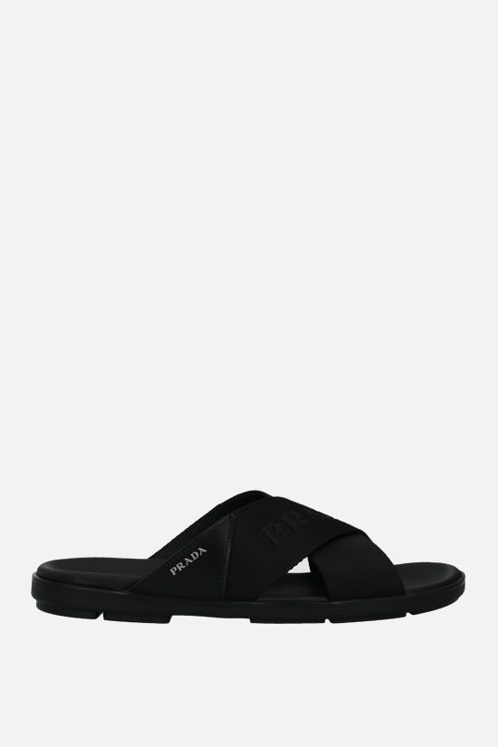 PRADA: nylon and smooth leather flat sandals Color Black_1