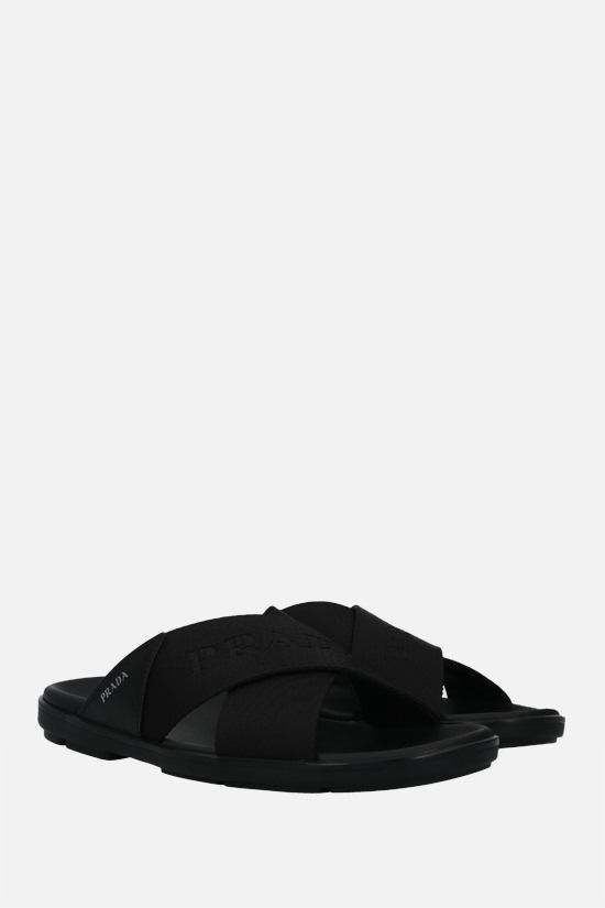 PRADA: nylon and smooth leather flat sandals Color Black_2