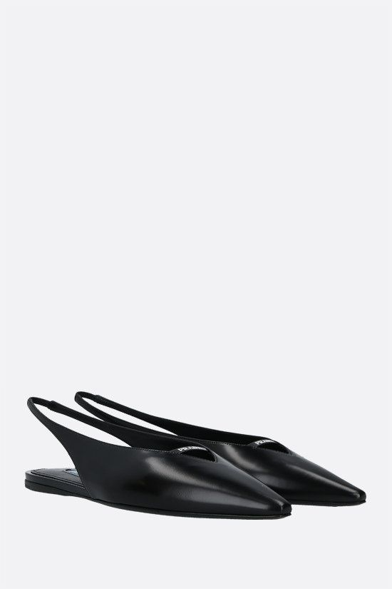 PRADA: logo-detailed brushed leather slingbacks Color Black_2
