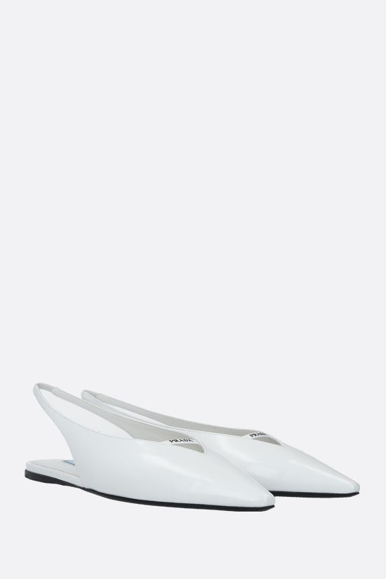 PRADA: logo-detailed brushed leather slingbacks Color White_2