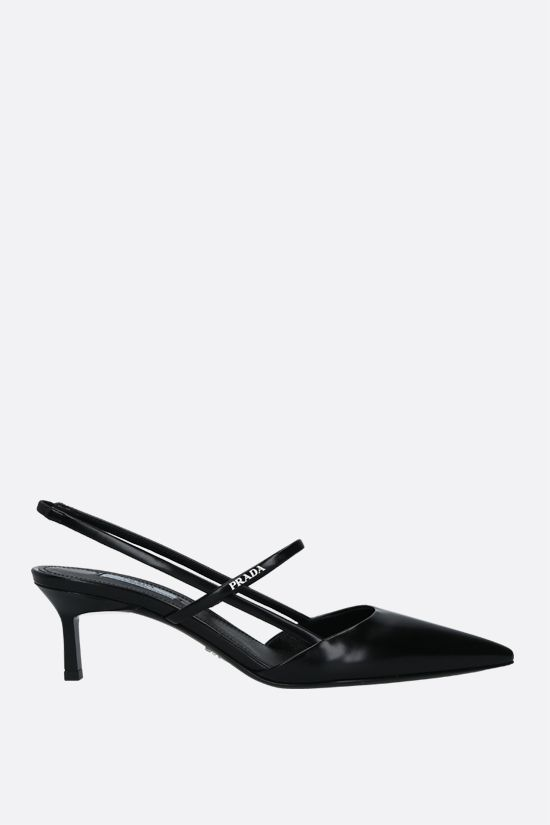 PRADA: logo-detailed brushed leather slingbacks Color Black_1