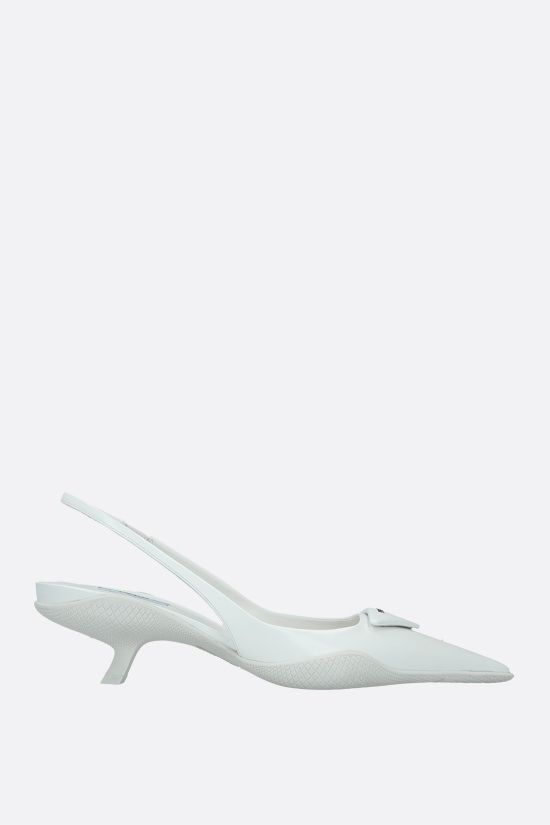 PRADA: logo-detailed brushed leather slingbacks Color White_1