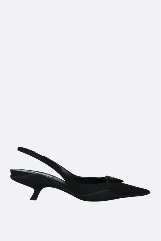 PRADA: logo-detailed nylon slingbacks Color Black_1