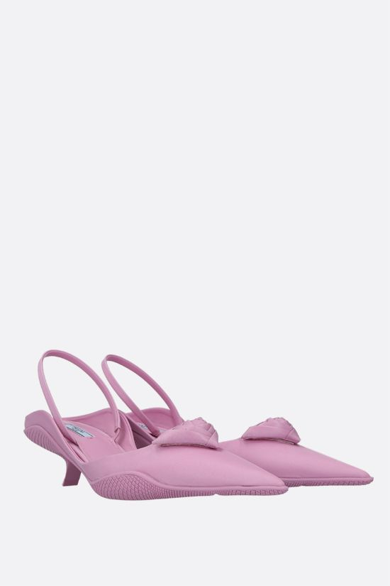 PRADA: flower triangle-detailed nylon slingbacks Color Pink_2