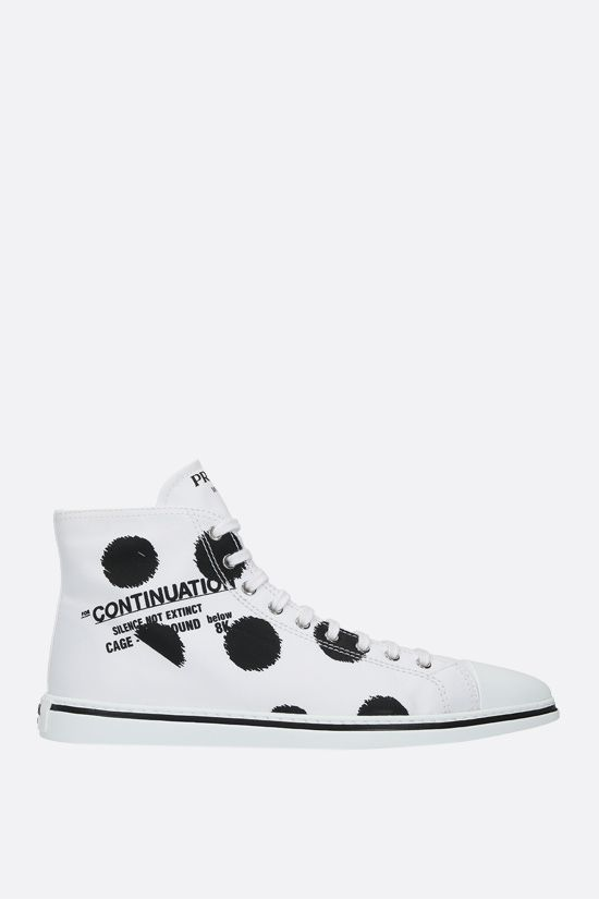 PRADA: Continuation print gabardine high-top sneakers Color White_1