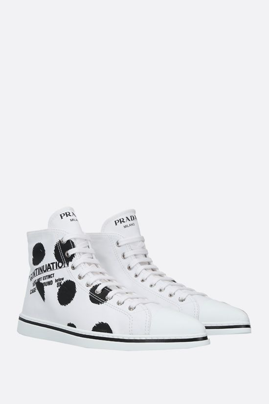 PRADA: Continuation print gabardine high-top sneakers Color White_2
