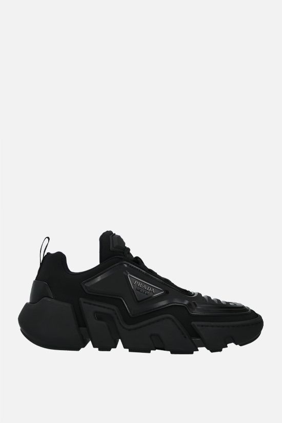 PRADA: Segment technical fabric and rubber sneakers Color Black_1