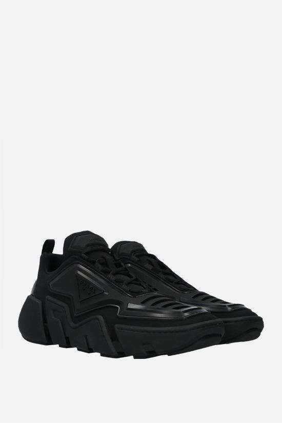 PRADA: Segment technical fabric and rubber sneakers Color Black_2