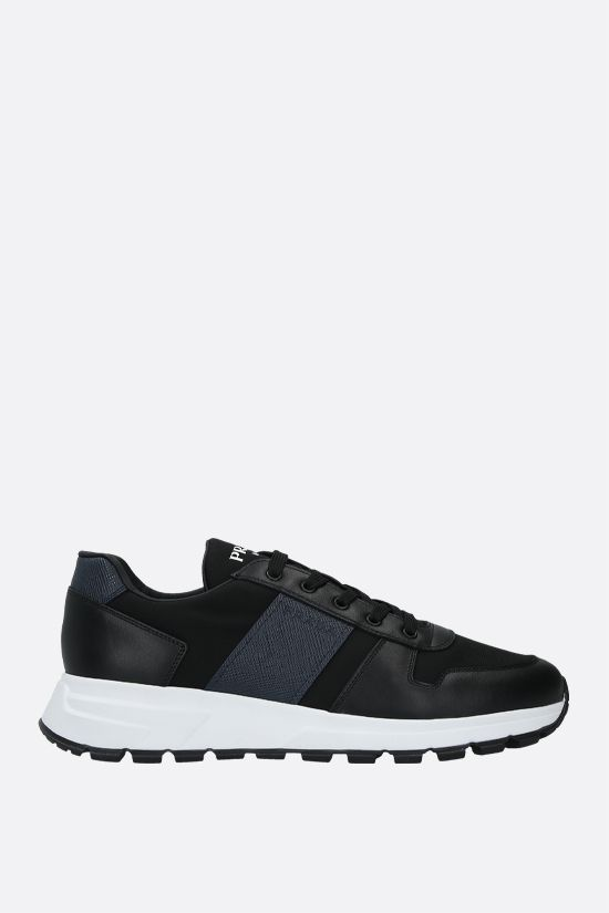 PRADA: technical fabric and shiny leather sneakers Color Black_1