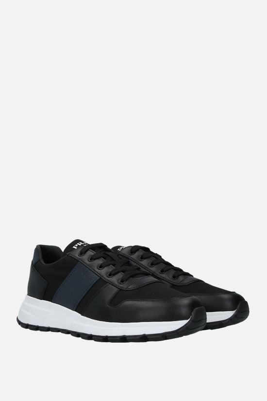 PRADA: technical fabric and shiny leather sneakers Color Black_2
