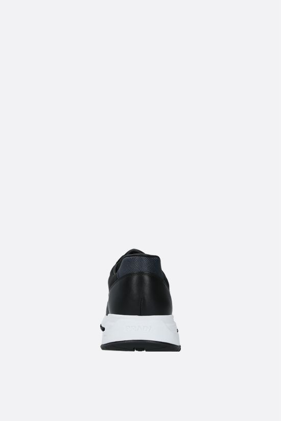 PRADA: technical fabric and shiny leather sneakers Color Black_3