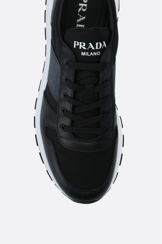 PRADA: technical fabric and shiny leather sneakers Color Black_4