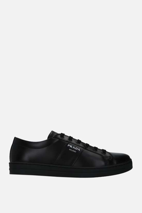 PRADA: logo-detailed brushed leather sneakers Color Black_1