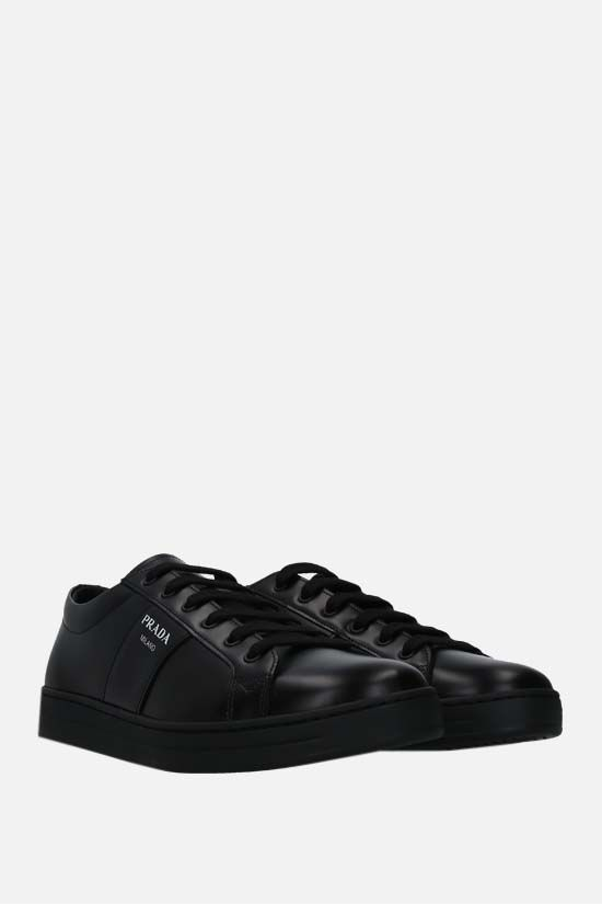 PRADA: logo-detailed brushed leather sneakers Color Black_2