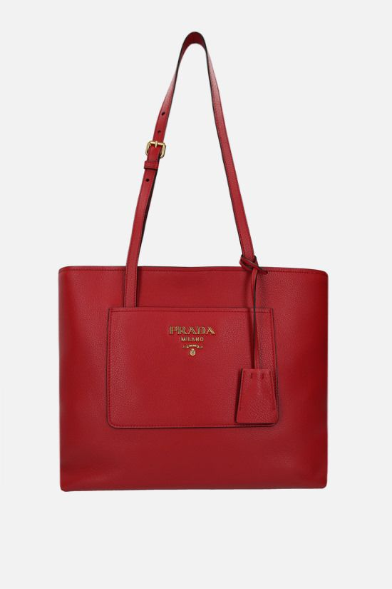 PRADA: deer embossed leather shopping bag Color Red_1