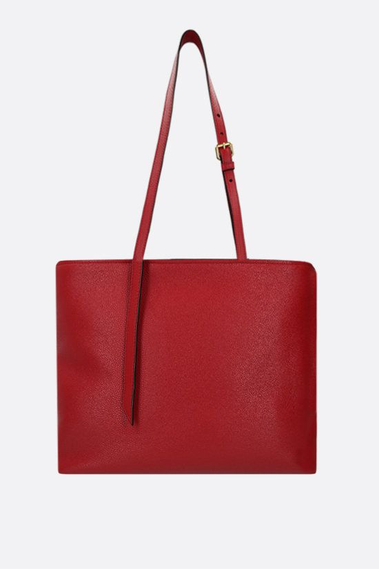 PRADA: deer embossed leather shopping bag Color Red_2