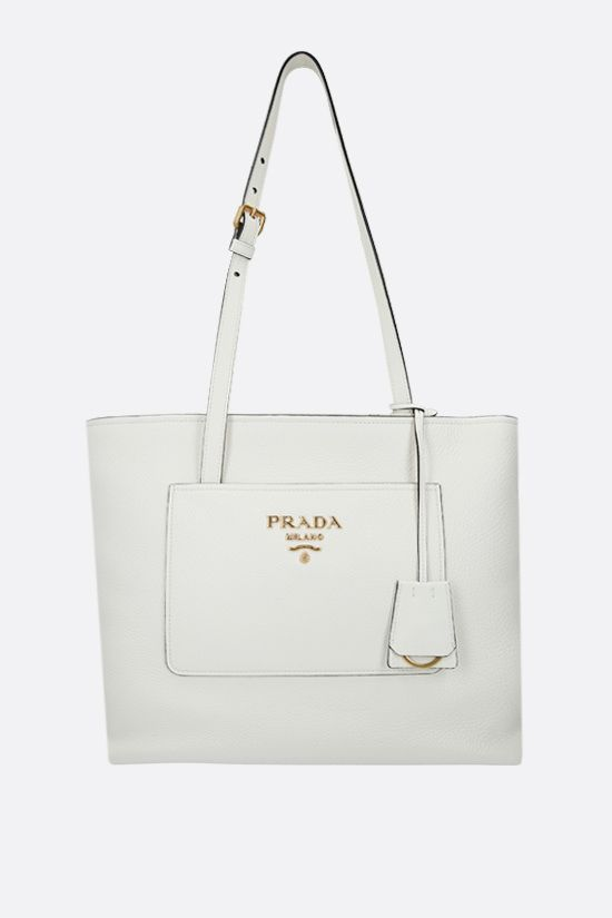 PRADA: deer embossed leather shopping bag Color White_1