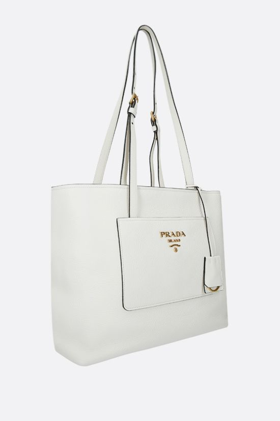 PRADA: deer embossed leather shopping bag Color White_2