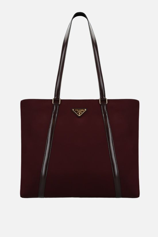 PRADA: nylon and brushed leather shopping bag Color Red_1