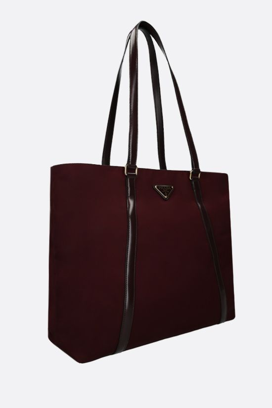 PRADA: nylon and brushed leather shopping bag Color Red_2