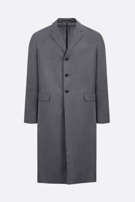 PRADA: single-breasted lightweight wool overcoat Color Grey_1