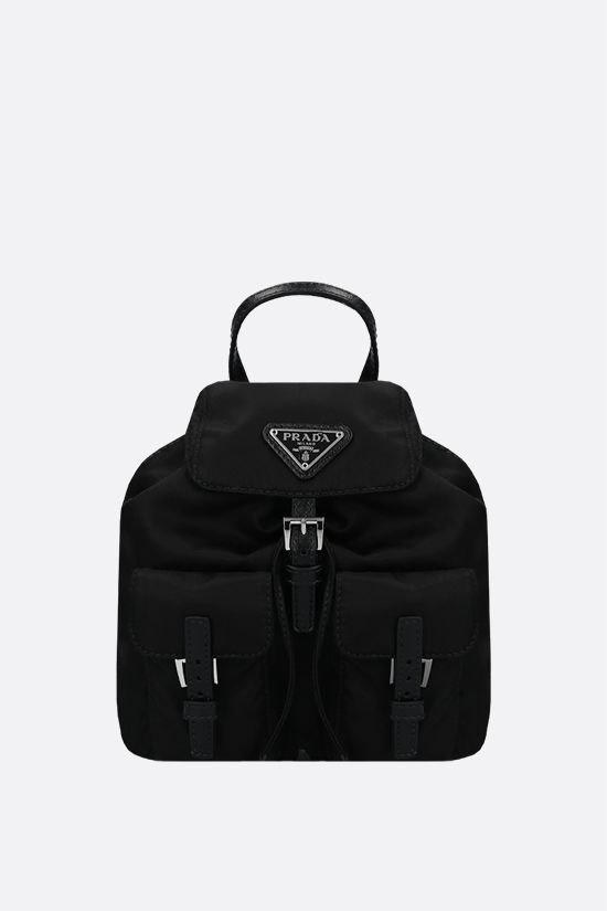 PRADA: Saffiano leather-detailed nylon mini backpack Color Black_1