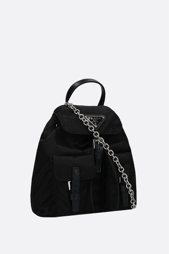 PRADA: Saffiano leather-detailed nylon mini backpack Color Black_2
