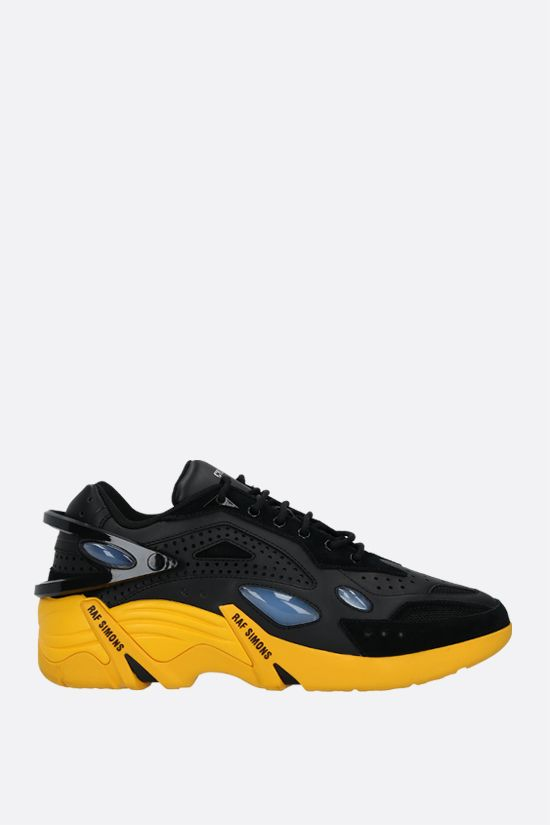 RAF SIMONS: Cyclon-21 smooth leather and mesh sneakers Color Black_1