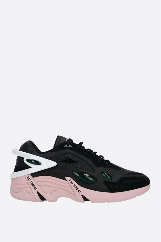 RAF SIMONS: Cyclon-21 smooth leather and mesh sneakers Color Black_2