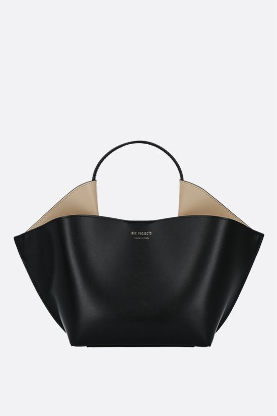 REE PROJECTS: Ann mini smooth leather tote bag Color Black_1