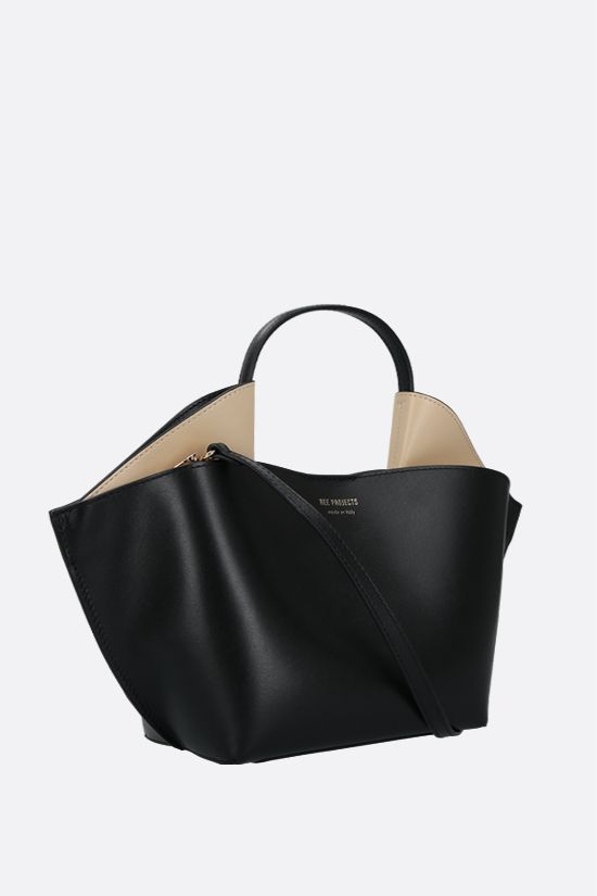 REE PROJECTS: Ann mini smooth leather tote bag Color Black_2